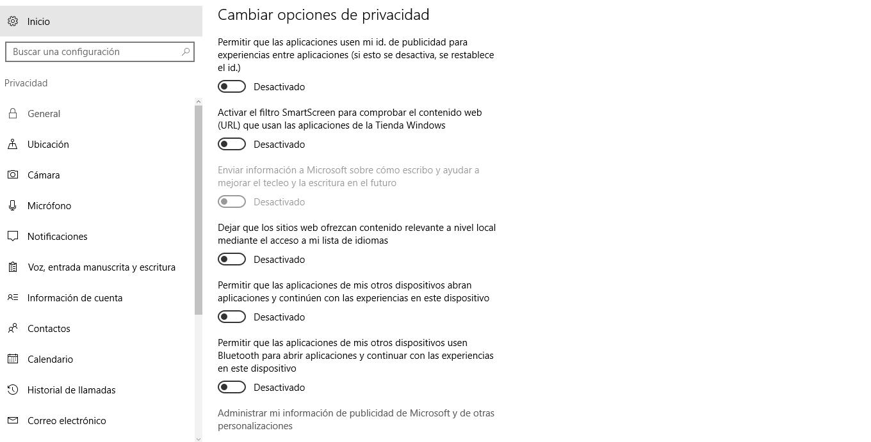 Cambiar privacidad Windows