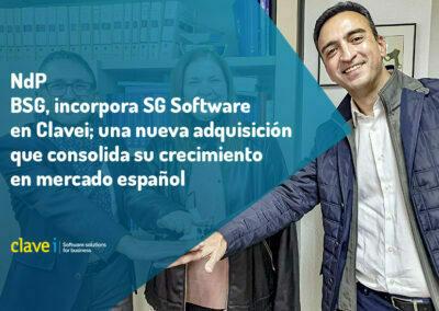 BSG, incorpora SG Software en Clavei; una nueva adquisición que consolida su crecimiento en mercado español