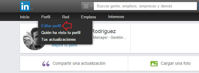 Edita la URL de tu perfil de Linkedin