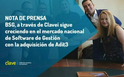 BSG, a través de Clavei sigue creciendo en el mercado nacional de Software de Gestión con la adquisición de Adit3
