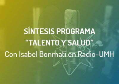 """Isabel Bonmatí de Clavei participa en el espacio radiofónico """"Talento y Salud"""" de la UMH"""
